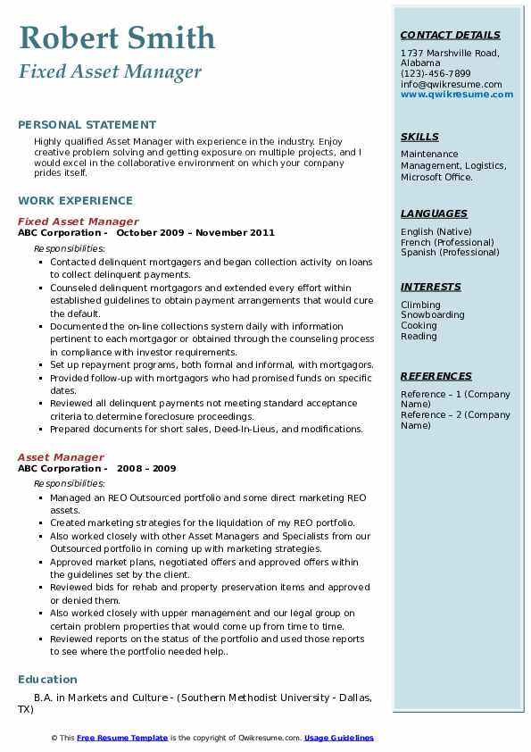 Fixed Asset Manager Resume Example