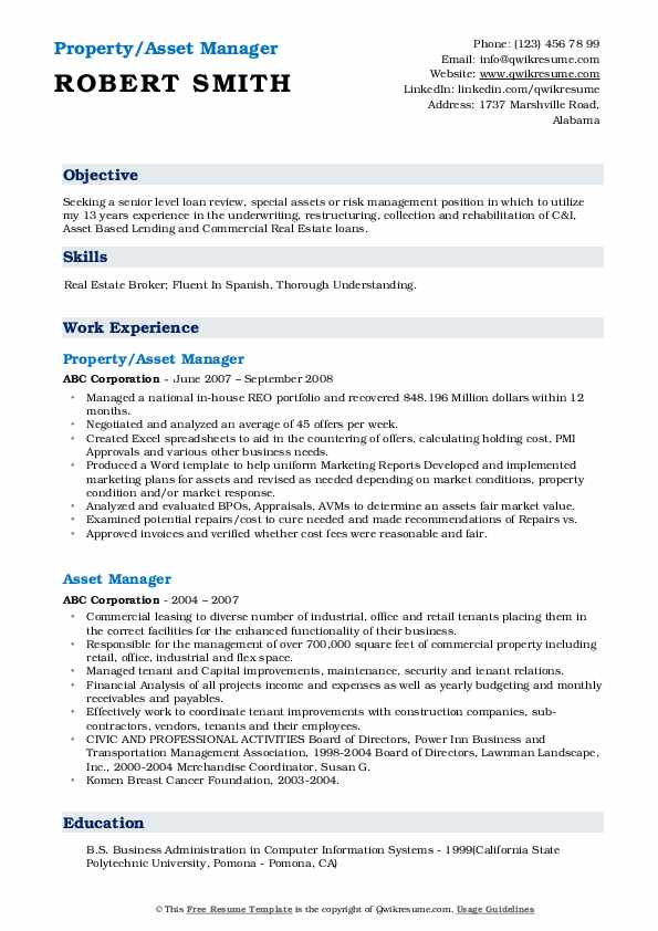 Property/Asset Manager Resume Template