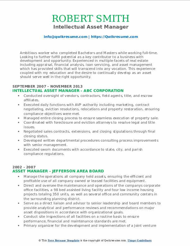Intellectual Asset Manager Resume Model