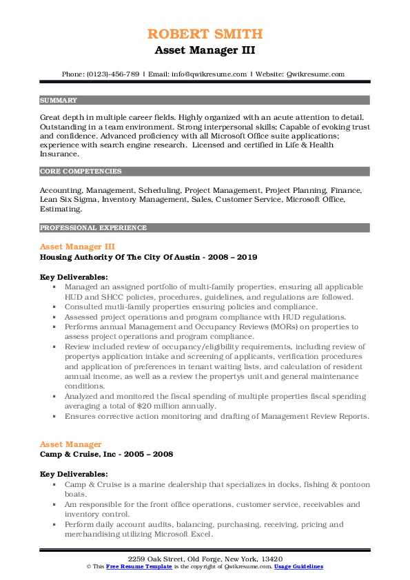 Asset Manager III Resume Sample