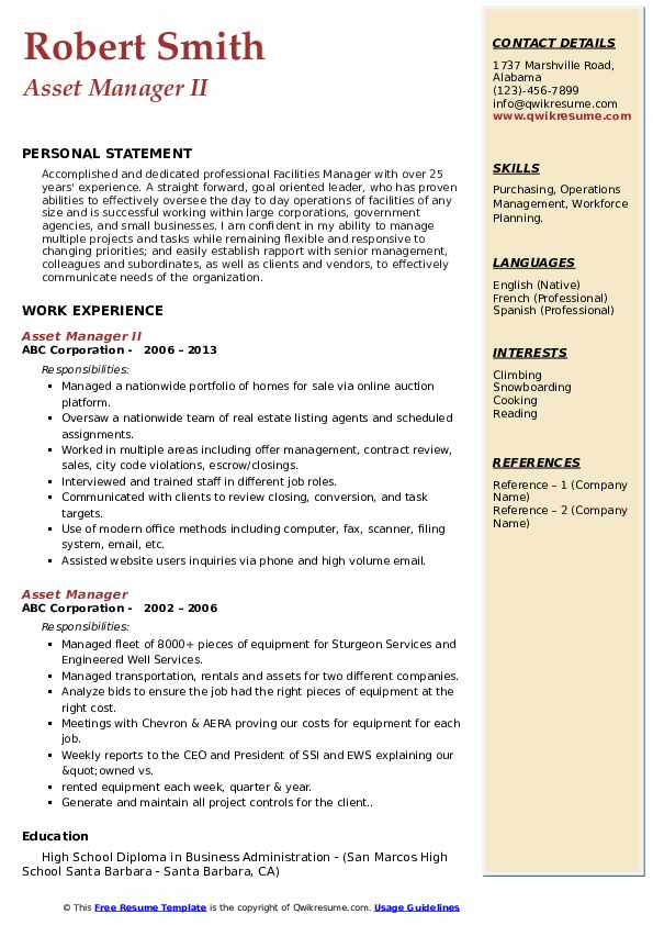 Asset Manager II Resume Example