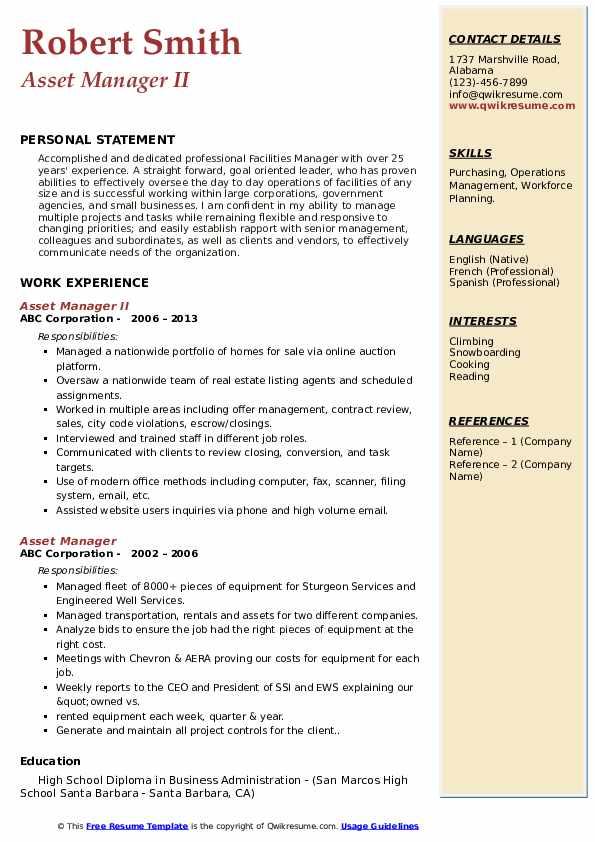Asset Manager II Resume Sample