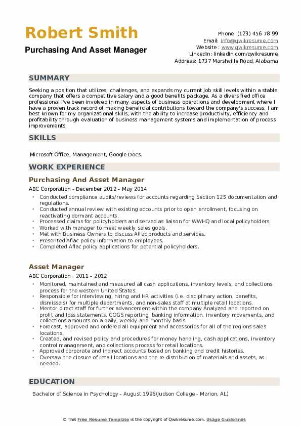Purchasing And Asset Manager Resume Template