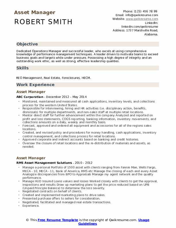 Asset Manager Resume example