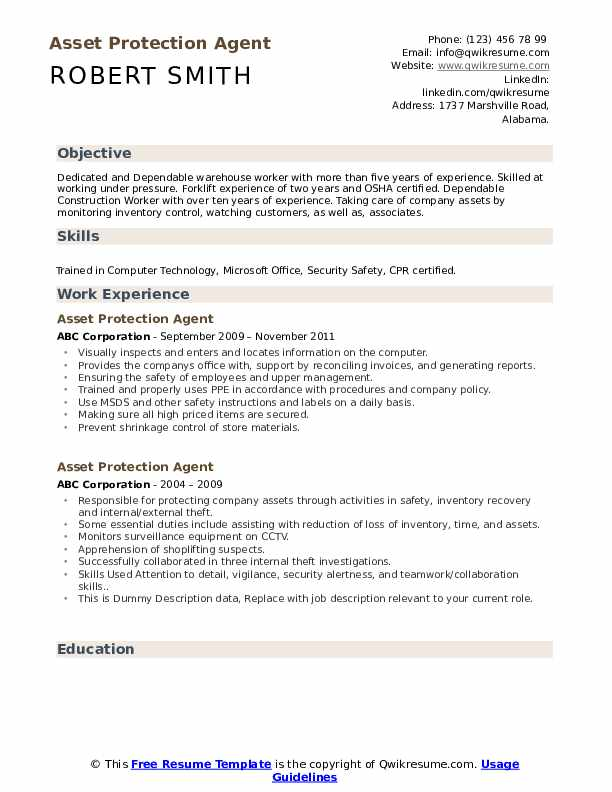 Asset Protection Agent Resume example