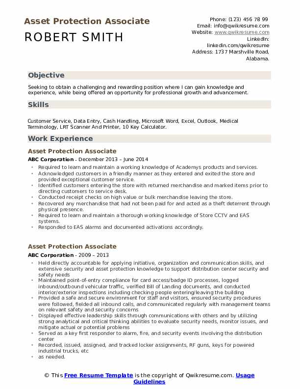 Asset Protection Associate Resume Template