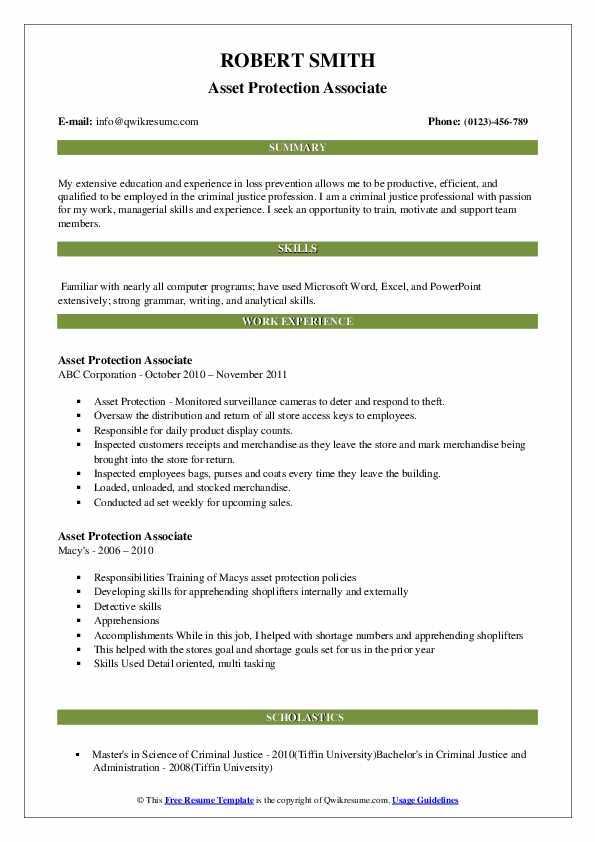Asset Protection Associate Resume Sample