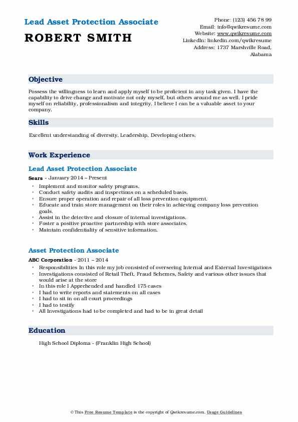 Lead Asset Protection Associate Resume Format