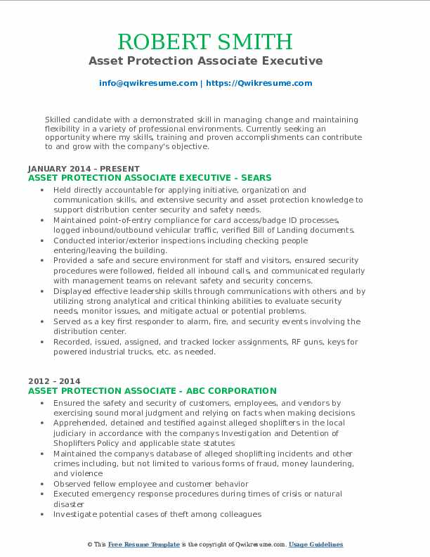 Asset Protection Associate Executive Resume Model