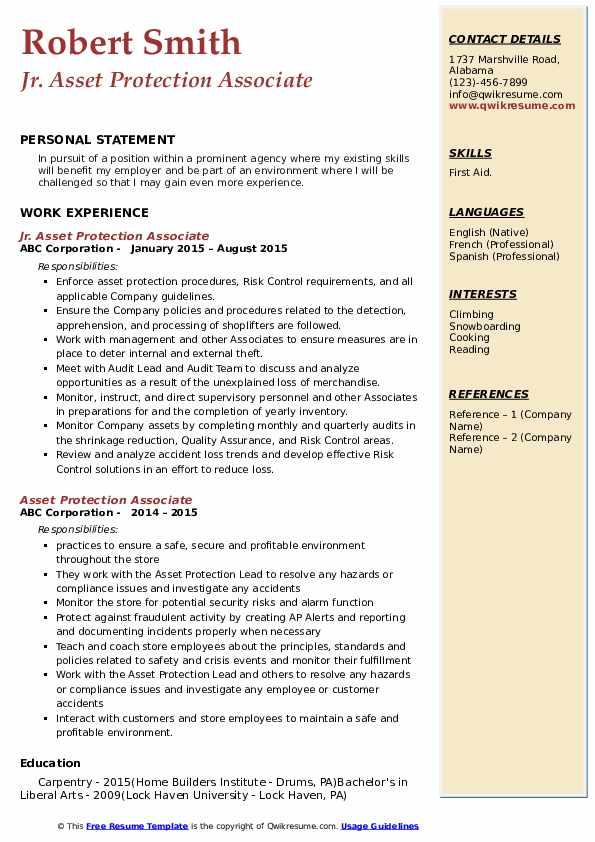 Jr. Asset Protection Associate Resume Template
