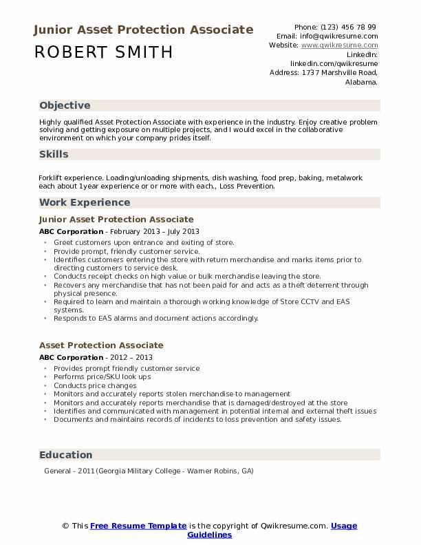Junior Asset Protection Associate Resume Format