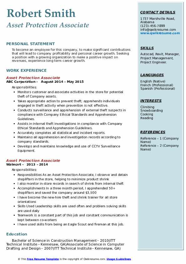 Asset Protection Associate Resume example