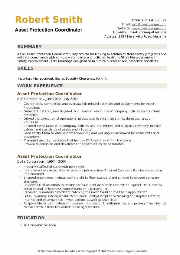 Asset Protection Coordinator Resume example