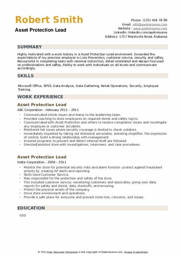 Asset Protection Lead Resume example