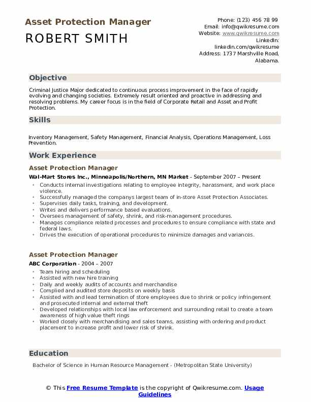 asset protection manager resume samples