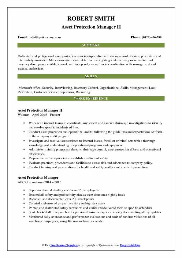Asset Protection Manager II Resume Template