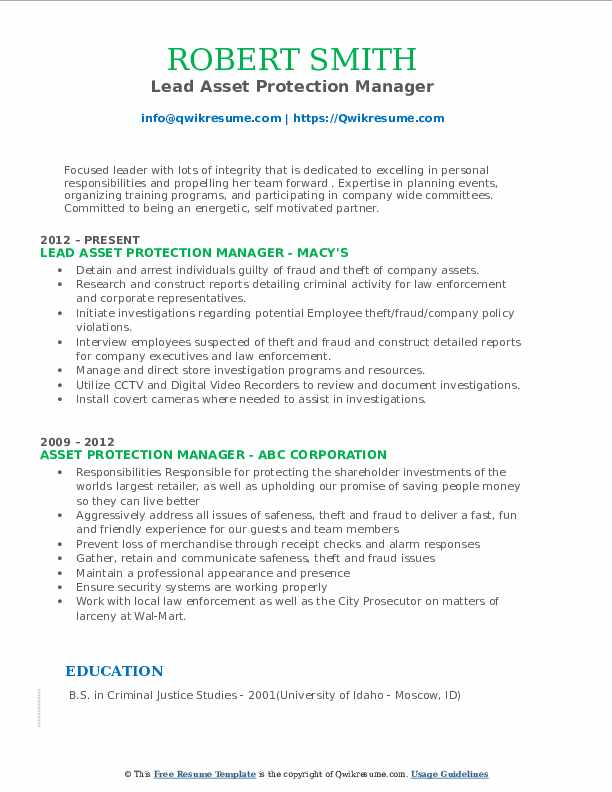 Lead Asset Protection Manager Resume Format