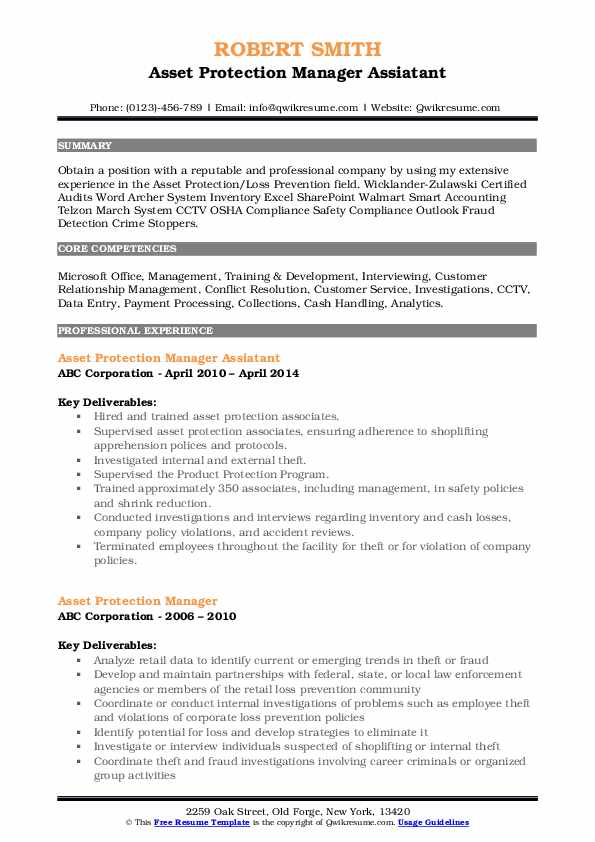 Asset Protection Manager Assiatant Resume Example