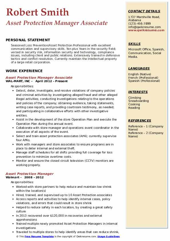 Asset Protection Manager Associate Resume Format