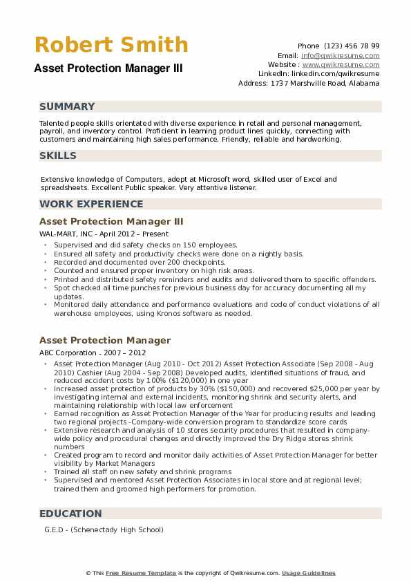 Asset Protection Manager Resume Samples Qwikresume