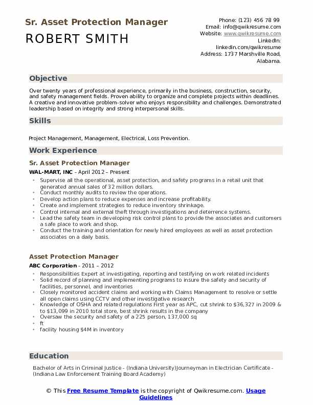 Sr. Asset Protection Manager Resume Example