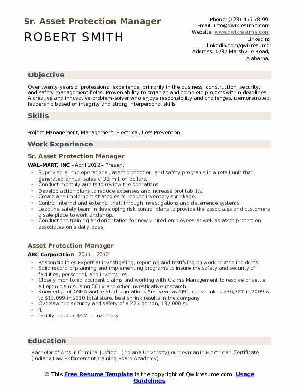 Sr. Asset Protection Manager Resume Format