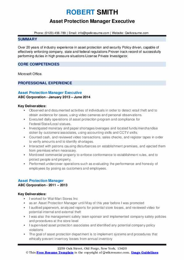 Asset Protection Manager Executive Resume Model