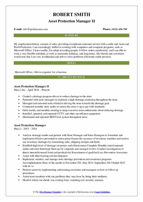 Asset Protection Manager II Resume Example