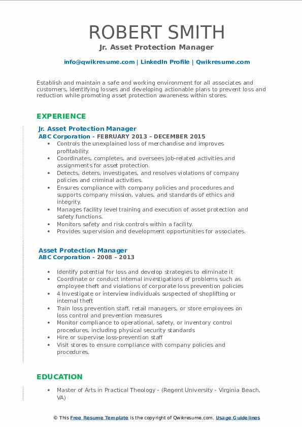 Jr. Asset Protection Manager Resume Example