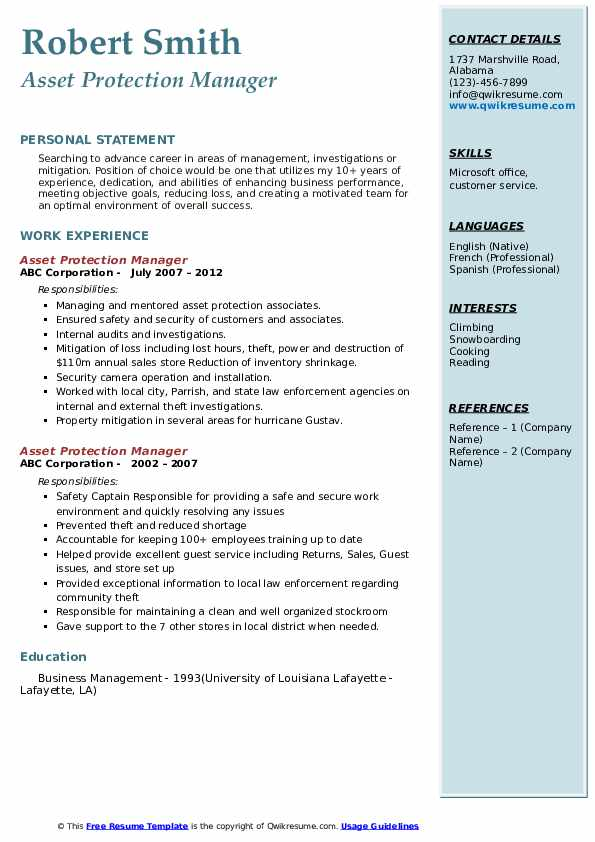 Asset Protection Manager Resume example