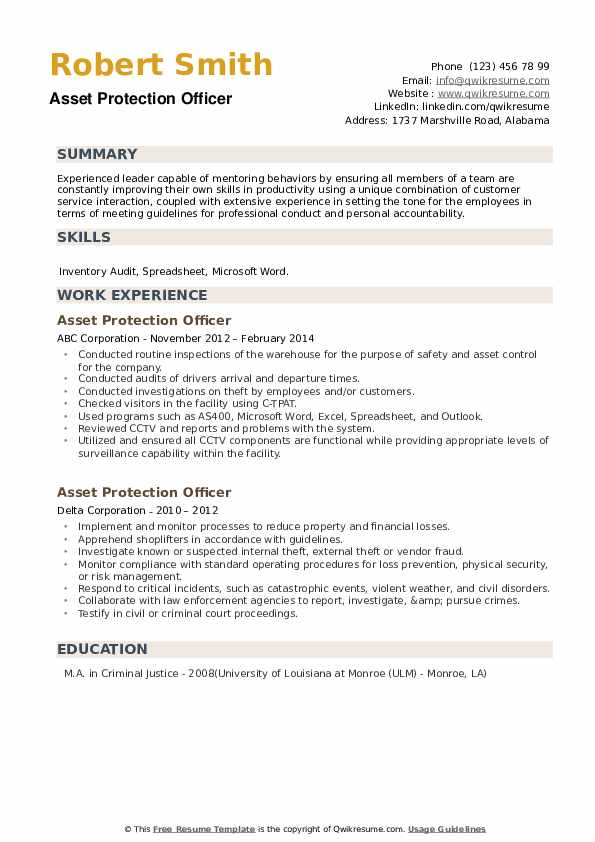 Asset Protection Officer Resume example