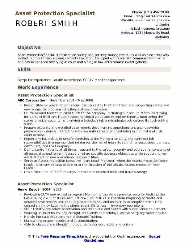 Asset Protection Specialist Resume Template