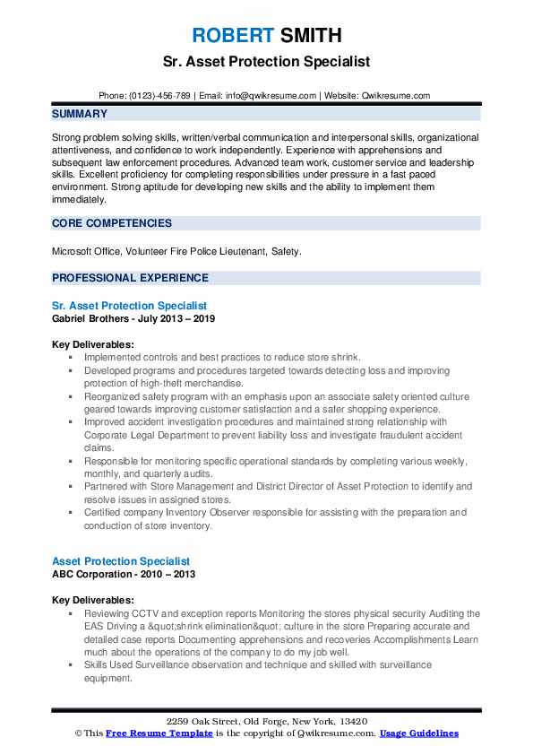 Sr. Asset Protection Specialist Resume Template