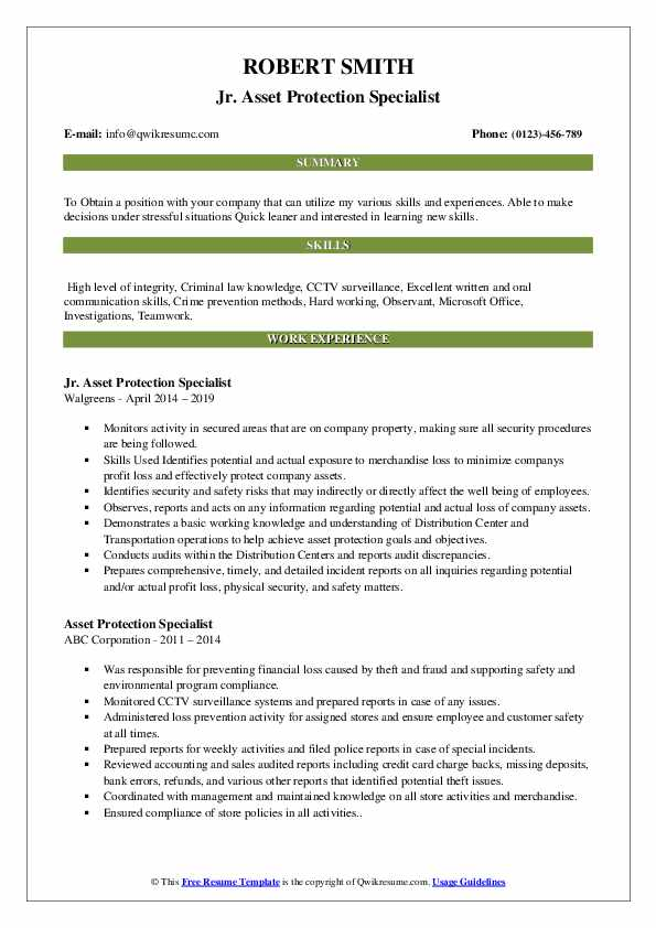 Jr. Asset Protection Specialist Resume Example