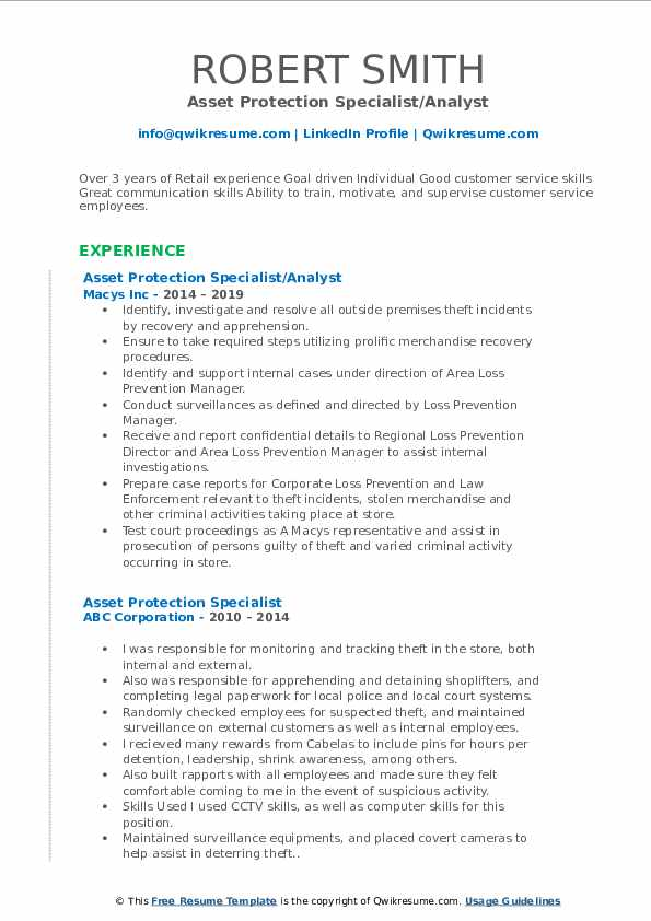 Asset Protection Specialist/Analyst Resume Sample