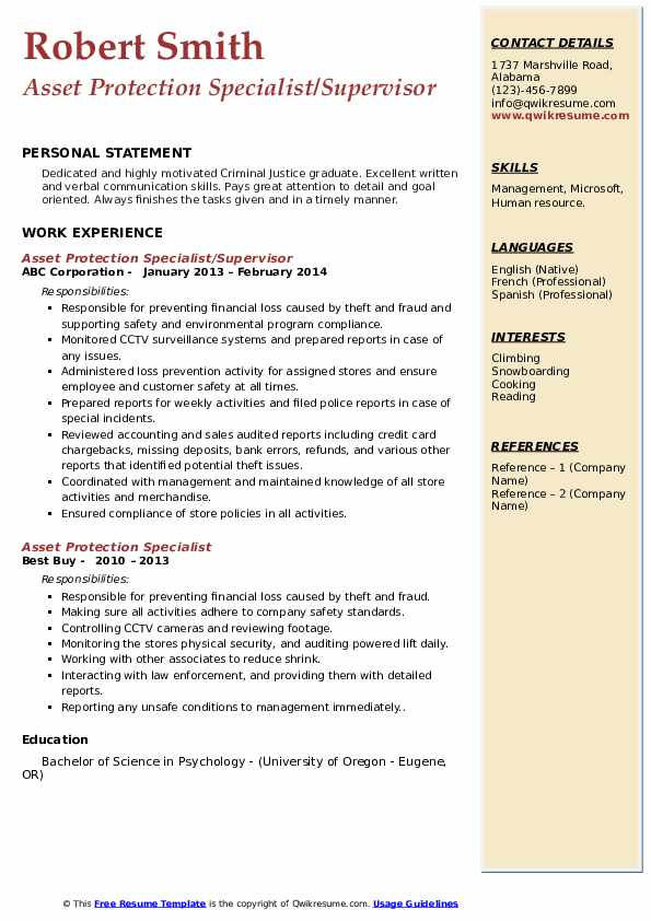 Asset Protection Specialist/Supervisor Resume Format
