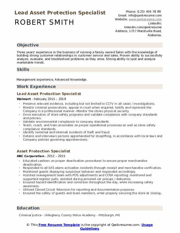 Lead Asset Protection Specialist Resume Sample