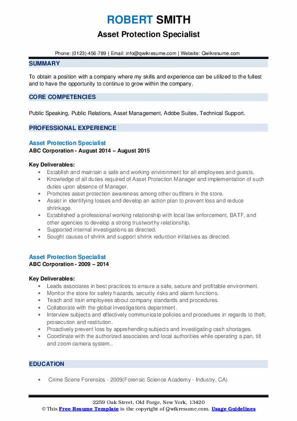 Asset Protection Specialist Resume example