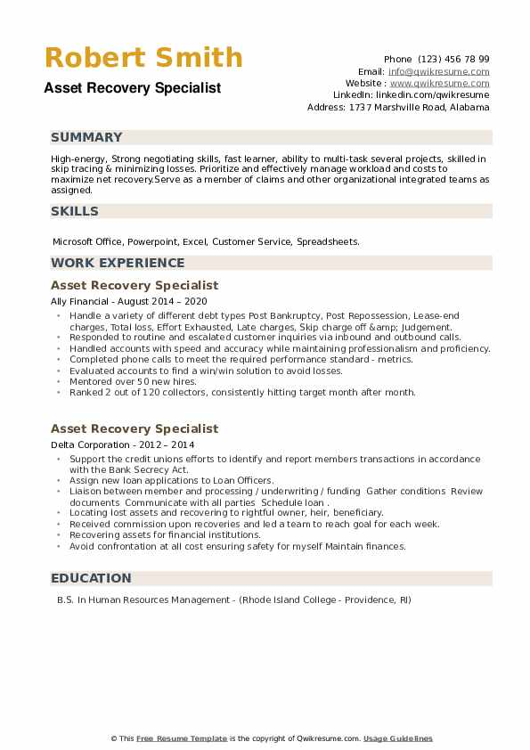 Asset Recovery Specialist Resume example
