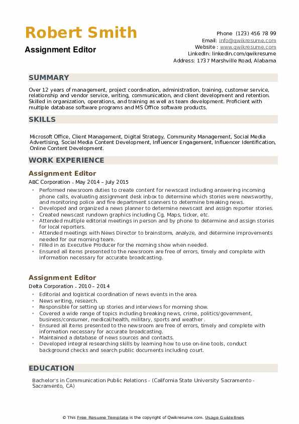 Assignment Editor Resume example