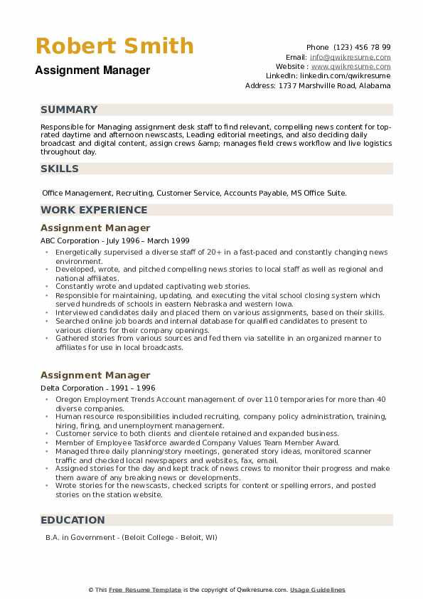 Assignment Manager Resume example