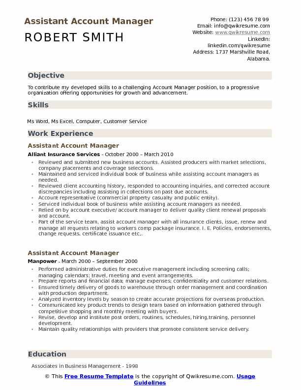 Assistant Account Manager Resume Format