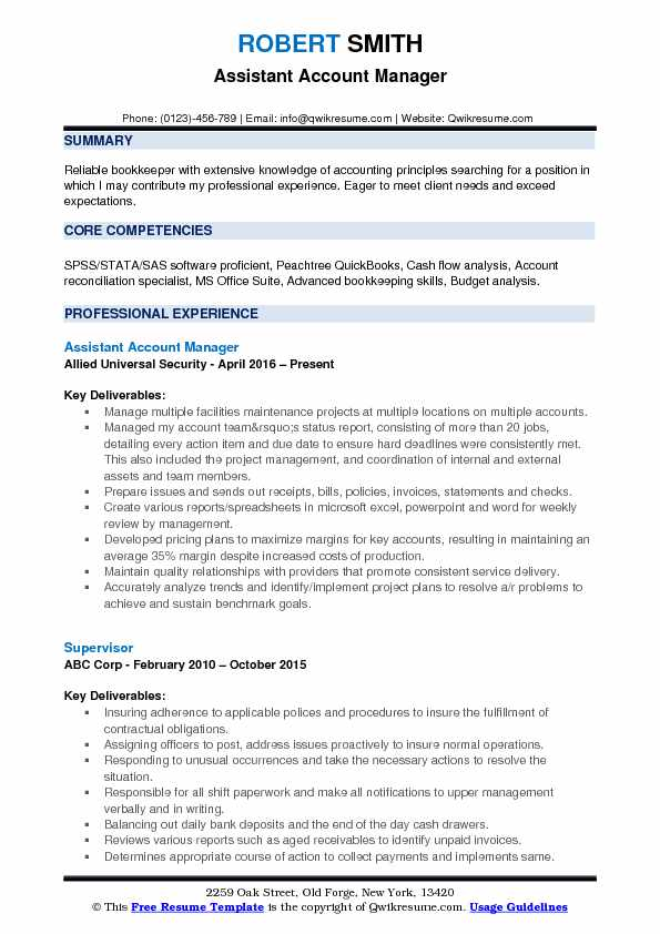 Assistant Account Manager Resume Model