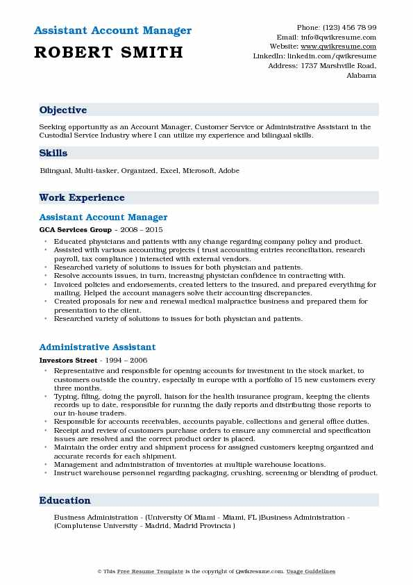 Assistant Account Manager Resume Sample