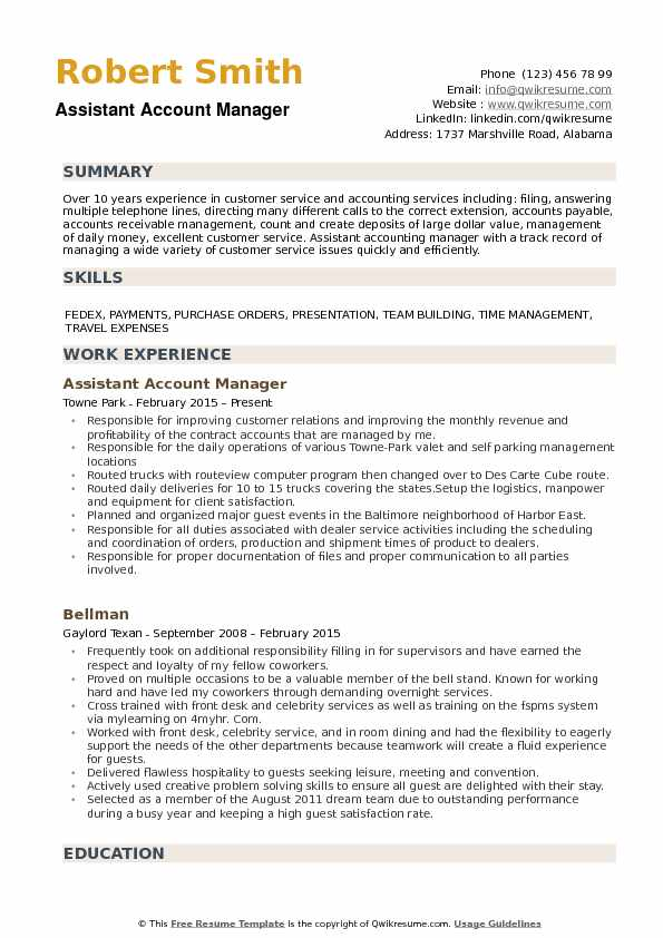 Assistant Account Manager Resume example