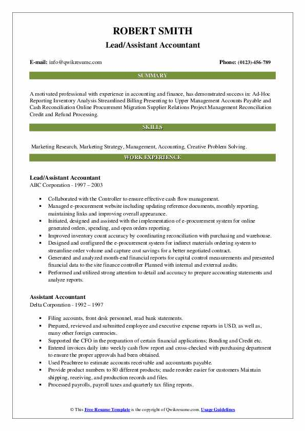 assistant accountant resume samples