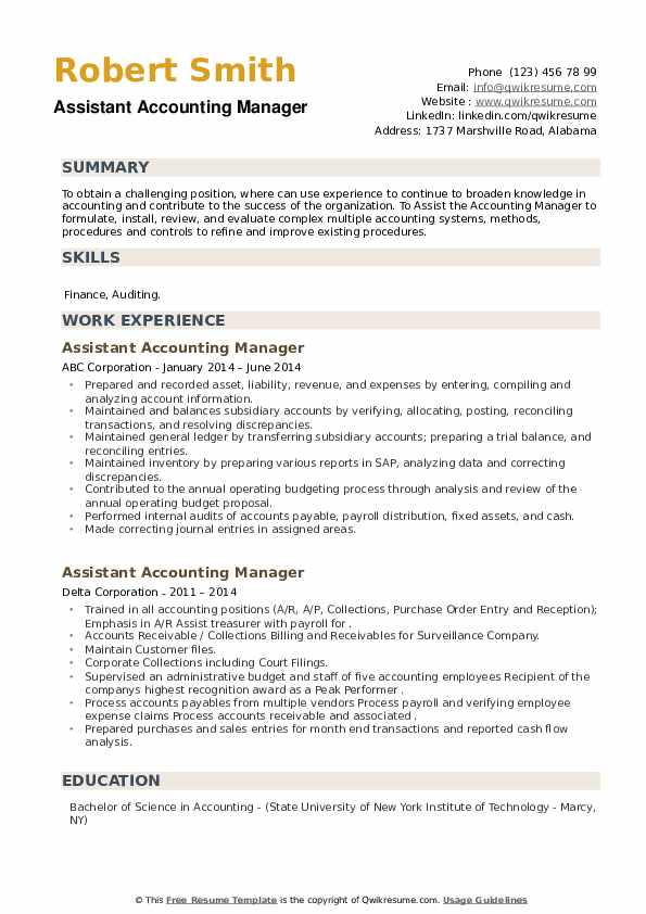 Assistant Accounting Manager Resume example
