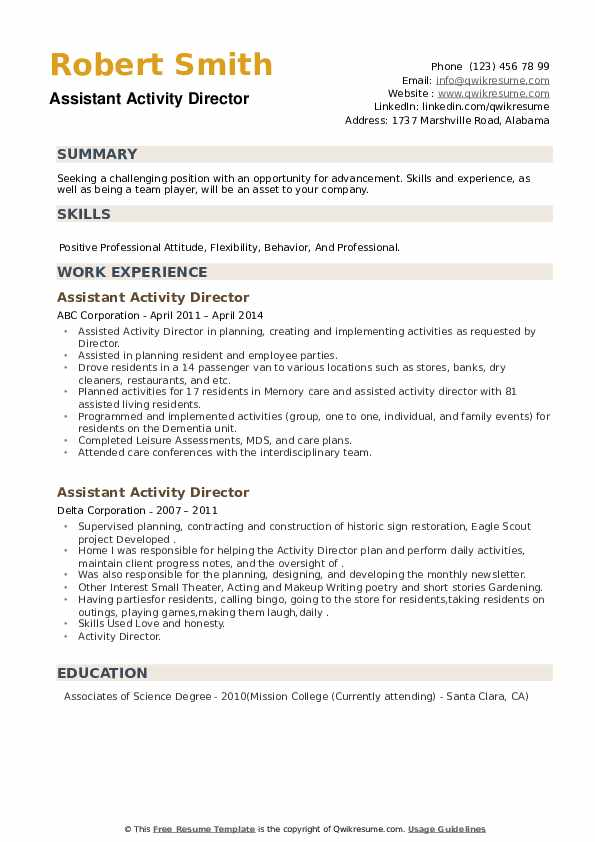 Assistant Activity Director Resume example