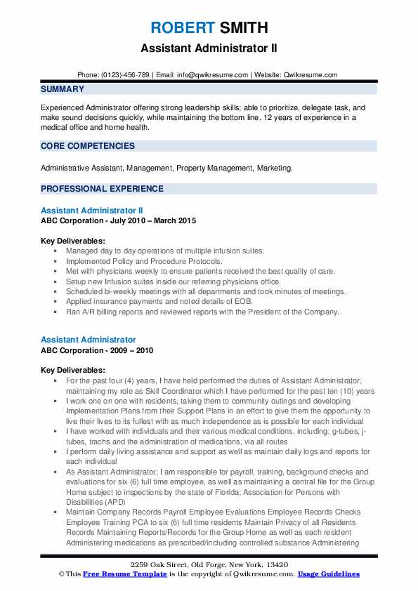 Assistant Administrator II Resume Example