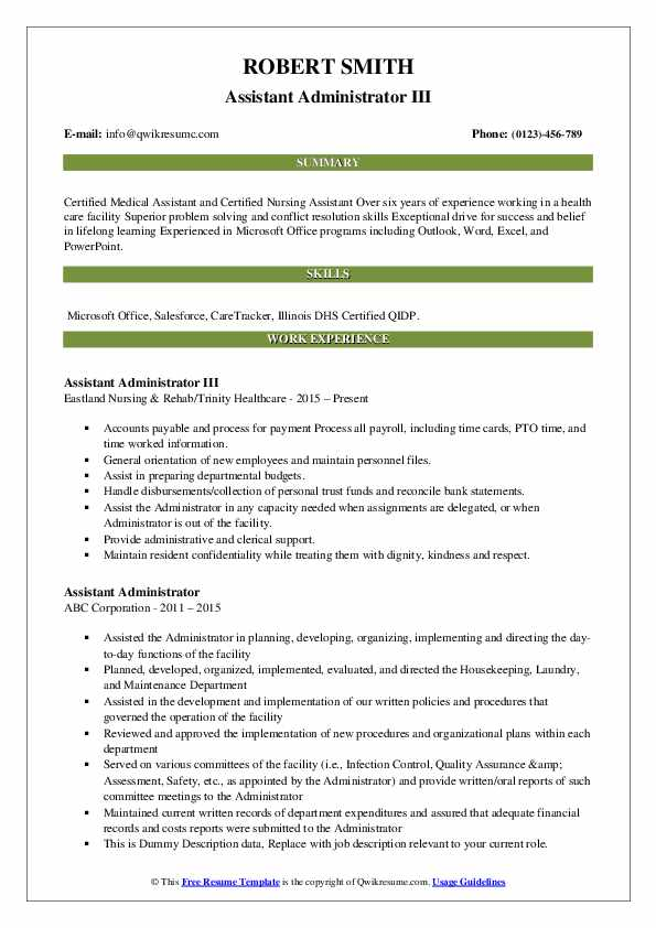Assistant Administrator III Resume Format